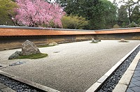 Zen, Ryoanji, Kyoto, inner rock garden of this famous temple