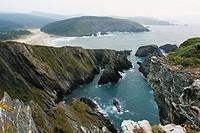 Esteiro beach and Ria of O Barqueiro in Mañon. View of the cliffs. A Coruña province. Galicia. Spain