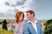 Couple on the terrace of Parco del Pincio in Rome Italy