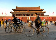 Gate of Heavenly Peace, Tianenmen, Beijing  Cyclists in foreground