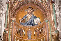 Byzantine mosaic of Christ on the ceiling of Cefalu Cathedral, Piazza Duomo, Cefalu, Sicily, Italy