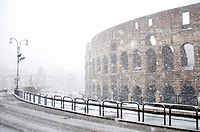 The Colosseum under heavy snow, Rome Italy