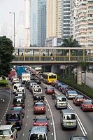 WANCHAI HONG KONG Gloucester Road traffic queuing near Harbour Tunnel pedestrian walkway