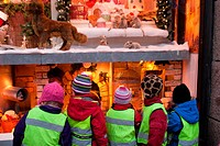 Children looking at the window of Christmas, Stockholm, Sweden