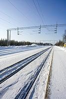 empty railway platform at winter Finland