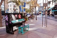 Painted piano on 16th Street Mall in downtown Denver, Colorado, part of the Your Keys to the City public art program