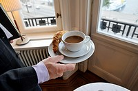 STOCKHOLM SWEDEN Coffee and croisant at business meeting.