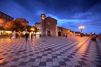 Sant´Agostino church in Piazza IX Aprile, Taormina, Sicily, Italy