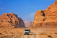 Desert safari in four wheel drive vehicles at Wadi Rum, Jordan