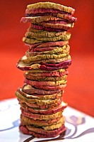 Apple chips dried apple rings, stacked to a tower