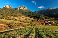 View of Velky Rozsutec from the meadows near Stefanova at the Vratna valley, Mala Fatra, Slovakia