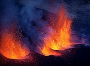 Lava fountains-Volcano eruption at Fimmvorduhals, a ridge between Eyjafjallajokull glacier, and Myrdalsjokull, Iceland 2010