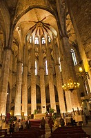 Interior of Santa Maria del Mar church, Barcelona, Catalonia, Spain