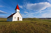 The church at Breidavik, West Fjords, Iceland