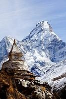 Buddhist stupa and Ama Dablam mountain, Everest Region, Nepal