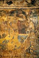 Frescoes inside Qusayr amra desert castle, Jordan