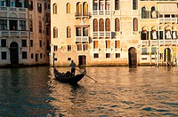 Silhouette of a gondola in evening sun  Grand Canal, Venice, Italy