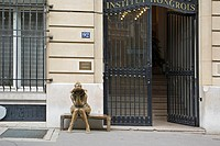 Sculpture in front of the Institut Hongrois at 92 rue Bonaparte, Paris.