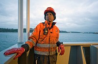 Stockholm, Sweden. An Indonesian seaman or sailor on the container-vessel MV Flintercape, during a journey from Rotterdam, Netherlands, to Sundsvall, ...