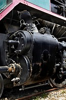 Details of the drive system of a old steam locomotive