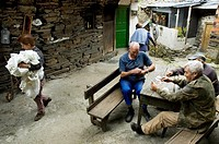 Rural villagers Cereixido in Quiroga. They play cards in the center of the village. In this place were shot several Republicans during the Spanish Civ...