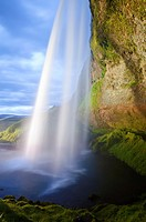 A side-view of Seljalandsfoss, Iceland