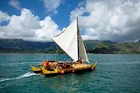 Makali´i, Hawaiian sailing canoe Kaneohe Bay, Oahu, Hawaii