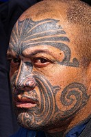 Maori man with ta moko facial tatoo, Manurewa Sunday Market, Auckland, New Zealand