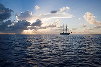Sunset with Sailboat, South Pacific