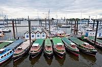 Small tour boats, Hamburg harbor, Germany
