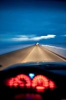 Driving at night, Highway 447, near Pyramid Lake, USA