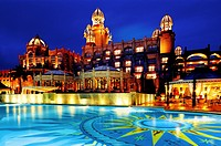 palace hotel, night, sun city, south africa