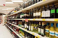 Lecce, Italy - wine bottles in the supermarket