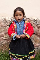 Young Peruvian Girl, in Tradional Dress  Central, Peru