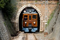 Europe, Spain, Mediterranean Sea, Balearic Islands, Mallorca, Soller, Soller Railway viewed from the front out of a tunnel on its way