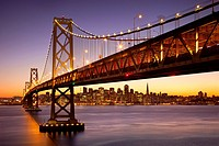 Twilight at the Bay Bridge with San Francisco beyond, California, USA