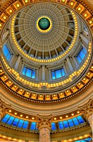 Looking up at the Capitol rotunda at the Idaho State Capitol, Boise, Idaho, USA