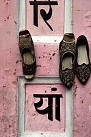 Shoes on a patio in Jaipur, Rajastan, India