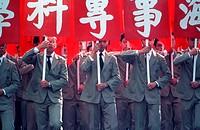 Student marchers in a Ten-Ten Parade in Taipei, Taiwan