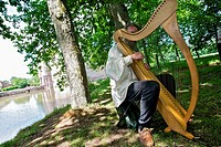 Castle trescesson. improvised concert of Celtic harp, broceliande, paimpont drill. Brittany, France