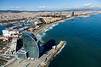 Aerial view of Barcelona coastline