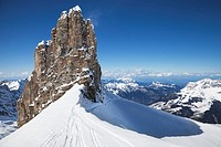 A view of ski tracks and a rock formation on Mount Titlis near Engelberg, Switzerland, in the Ulmer Alps