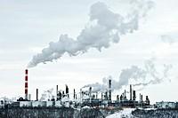 An oil refinery in Edmonton, Alberta, Canada on a winter day