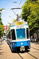 A streetcar running along Bahnhofstrasse in Zurich, Switzerland