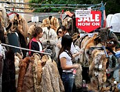 Fur Coats in the Portobello Road Market in London