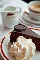 The presentation of the original Sacher-Torte  A portion with a scoop of cream  Vienna, Austria