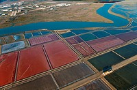 Aerial view of saltworks and Guadalete river, El Puerto de Santa Maria, Cadiz-province, Spain