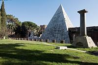 Caio Cestio´s Pyramid seen from Non-Catholic Cemetery, Rome, Lazio, Italy