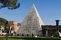 Caio Cestio´s Pyramid seen from Non-Catholic Cemetery, Rome, Lazio, Italy