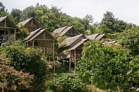 Wooden hillside bungalows on stilts at View Point Ko Lipe island Thailand